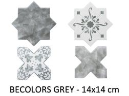 BECOLORS 14x14 cm, GREY - floor and wall tiles, Oriental style.