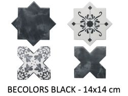 BECOLORS 14x14 cm, BLACK - floor and wall tiles, Oriental style.
