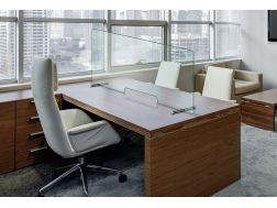 Protections for glass desks., With opening