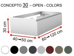 Custom bathroom cabinet, integrated handle, height 30 cm, lacquered finish - EL CONCEPTO