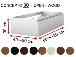 Custom bathroom cabinet, integrated handle, height 30 cm, wood finish - EL CONCEPTO 30 Open Wood