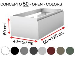 Custom bathroom cabinet, two drawers, height 50 cm, lacquer finish - EL CONCEPTO 50 Open Uni