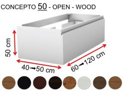 Custom bathroom cabinet, two drawers, height 50 cm, lacquer finish - EL CONCEPTO 50 Open Wood