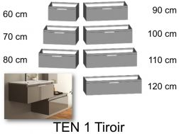 Bathroom cabinet, suspended, 1 large drawer - TEN 1T
