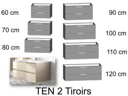 Bathroom cabinet, suspended, 2 large drawers - TEN 2T