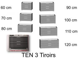 Bathroom cabinet, 3 drawers, on legs - TEN 3T