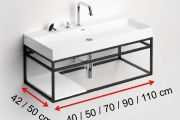 Black mounting bracket, suspended, for vanity top, ATELIER style - FRAME