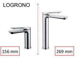 Designer washbasin tap, mixer, height 156 and 269 mm - LOGRONO chrome