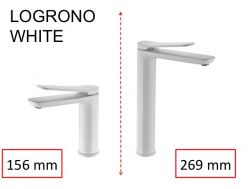 Matte white washbasin tap, mixer, height 156 and 269 mm - LOGRONO white