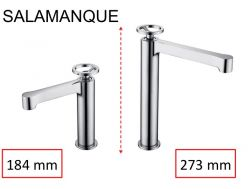 Designer washbasin tap, mixer, height 184 and 273 mm - SALAMANQUE CHROME
