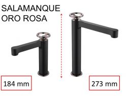 Black tap, mixer, height 184 and 273 mm - SALAMANQUE ORO ROSA