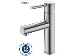 Brushed steel washbasin tap, mixer, height 188 mm - PARLA