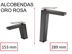 Design Washbasin tap, mixer, height 153 and 289 mm - ALCOBENDAS ORO ROSA