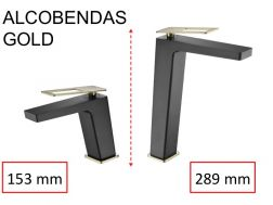 Design Washbasin tap, mixer, height 153 and 289 mm - ALCOBENDAS GOLD