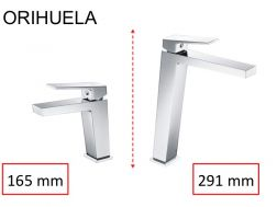 Washbasin tap, mixer, straight / square style, height 165 or 291 mm - ORIHUELA CHROME