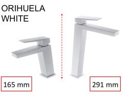 Washbasin tap, mixer, straight / square style, height 165 or 291 mm - ORIHUELA WHITE