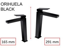 Washbasin tap, mixer, straight / square style, height 165 or 291 mm - ORIHUELA BLACK