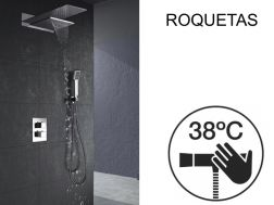Built-in shower, thermostatic, rain cover and waterfall - ROQUETAS CHROME