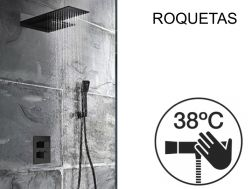 Built-in shower, thermostatic, rain cover and waterfall - ROQUETAS BLACK
