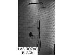 Black built-in shower, mixer, round rain cover Ø 25 cm - LAS ROZAS NOIR
