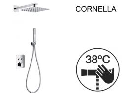 Built-in shower, thermostatic and rain shower head 25 x 25 - CORNELLA CHROME