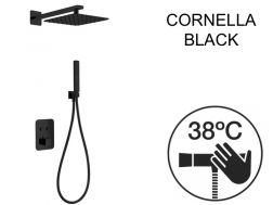 Built-in shower, thermostatic and rain shower head 25 x 25 - CORNELLA BLACK