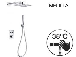 Built-in shower, thermostatic and 20 x 30 rain shower head - MELILLA CHROME