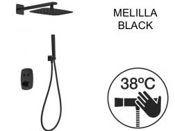 Built-in shower, thermostatic and rain shower head 25 x 25 - MELILLA BLACK