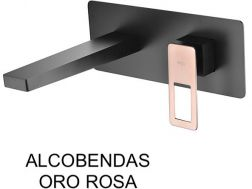 Recessed wall-mounted faucet, single lever, length 212 mm - ALCOBENDAS ORO ROSA