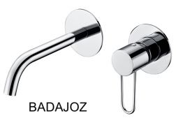 Recessed wall-mounted faucet, single lever, length 218 mm - BADAJOZ CHROME