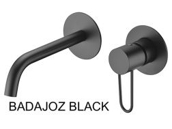 Recessed wall-mounted faucet, single lever, length 218 mm - BADAJOZ BLACK