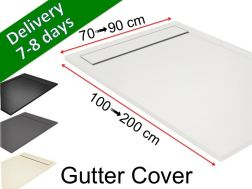 Gutter shower tray with resin grid - GUTTER COVER White