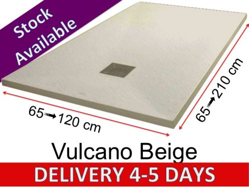Mineral resin shower trays, custom made, stone effect, non-slip - VULCANO BEIGE