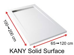 Channel shower tray, in Solid Surface mineral resin - KANY