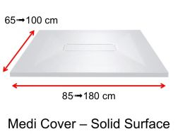 Shower tray, central drain, in Solid Surface mineral resin - MEDI COVER