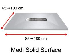 Shower tray, in Solid Surface mineral resin, central drain - MEDI