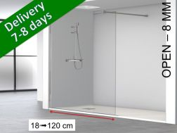 Fixed shower screen, standard, 80 x 195 cm - OPEN