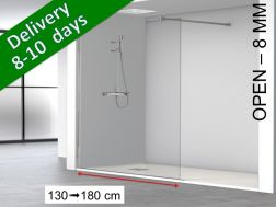 Fixed shower screen, standard, 160 x 195 cm - OPEN