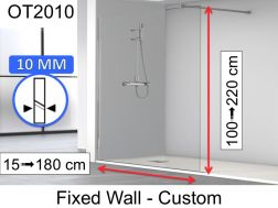 Shower screen 80 x 195 cm, fixed panel, glass 10 mm - OT2010