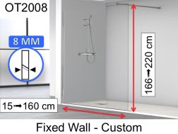Shower screen 80 x 195 cm, fixed panel, glass 8 mm - OT2008