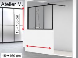 Half fixed shower wall, 80 x 195, industrial style art deco - Atelier M1