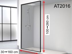 Shower screen, black aluminum profile - fixed floor / wall / ceiling - 80 x 250 - AT 2016