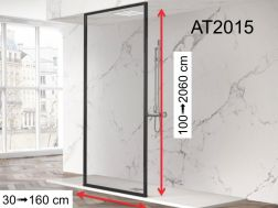 Shower screen, black aluminum profile - fixed floor / ceiling - 80 x 250 - AT 2015