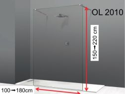 Shower screen 100 x 195 cm, fixed panel, glass 8 mm - OL 2010