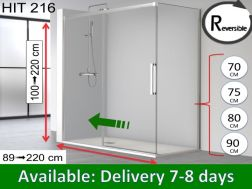 Sliding shower door, 160 x 195 cm, with fixed return - HIT 216