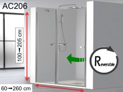 Hinged shower door, with fixed glass extension - AC 206