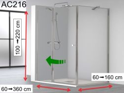 Hinged shower door, on fixed, with a fixed glass on the side - AC 216