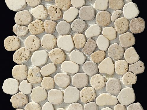 Taro beige mix, Sawed pebble mosaic, tiles 30x30 cm. boxer