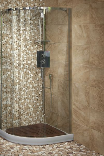 Floor and wall tiling. Mosaïques et Galets - Taro travertine mix ...