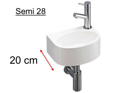 Washbasin semi rounded ultra-small, mineral resin, depth 20 cm, fitting right, SEMI 28 Benesan